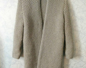 Honeycombs. Hand knitted longline grey cardigan. Chunky jacket. Mohair-wool.S-M. winter / fall trend.