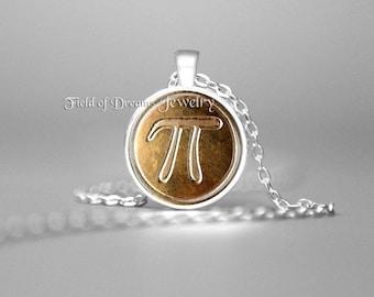 MATHMATICAL PI PENDANT Pi Necklace Pi Jewelry Math Jewelry Math Pendant Math Necklace Math Lovers Gift Geekery Geek Gift Brainiac Gift Gold