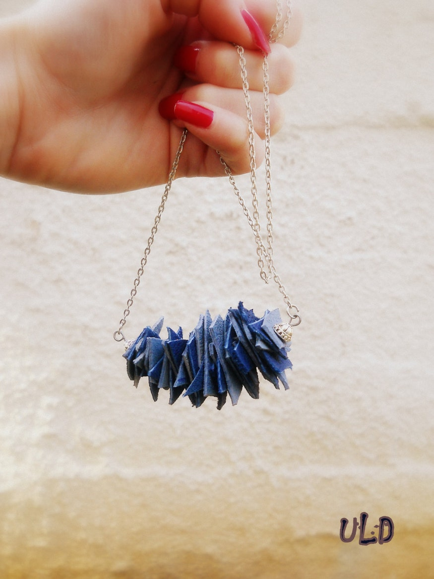 Blue Leather Necklace