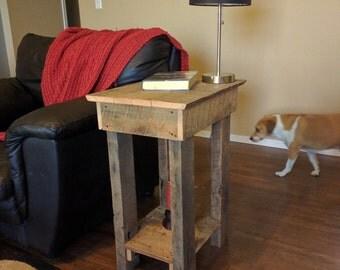 Reclaimed Oak Barn Wood End Table