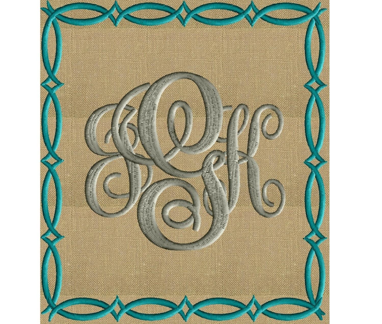 Fish braid font frame monogram embroidery design not