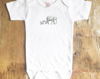 Mama and Baby Elephant Bodysuit - Animal Bodysuit - Elephant Bodysuit - Baby Elephant - Baby Girl Bodysuit - Baby Boy Bodysuit - baby shirt