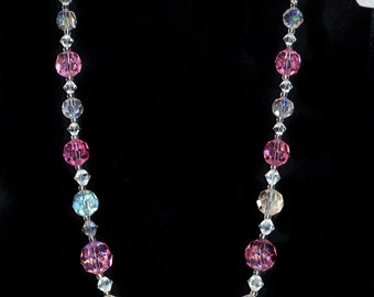 Solid Pink and Clear Crystal Necklace