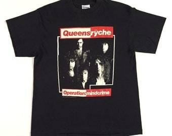 Vintage 80s QUEENSRYCHE Operation Mindcrime concert shirt Band Photo version with Tee Jays tag and Tour Dates