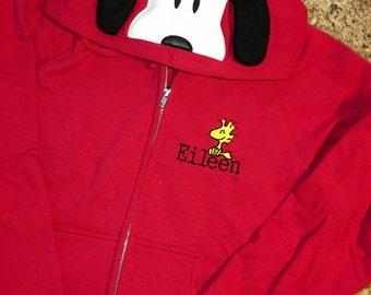 Snoopy Inspired Hoodie Zip Jacket - Kids thru Adult Sizes - Snoopy, Charlie Brown, Lucy