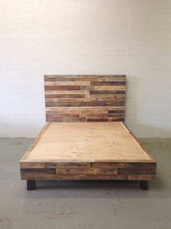 reclaimed wood platform bed base pallet natural twin by ...