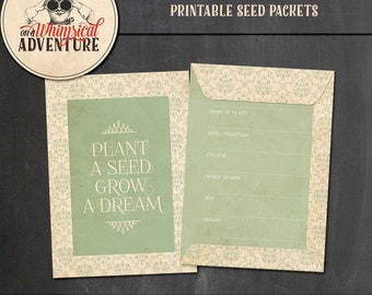Printable collage sheet, digital download seed packets, seed envelopes, vintage, shabby chic, garden seeds