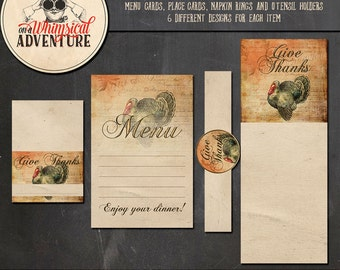 Thanksgiving digital download, dinner printables, party printables, menu, placecard, napkin ring, utensil holder, vintage Thanksgiving party