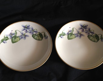 Franciscan Fine China. Olympic Pattern Bowls. Purple Violets With Leaves And Gold Trim. 1950-1956