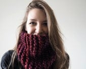 Supersized Ruby Red Chunky Knit Cowl