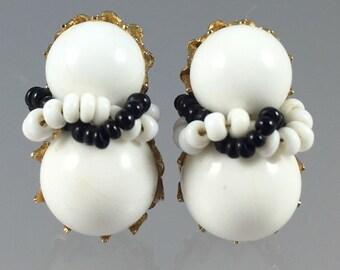 Vintage Vendome Beaded Earrings - White & Black