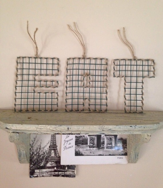 Eat sign letters metal wire mesh rustic
