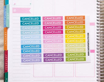 30 cancelled stickers, planner stickers, scrapbook reminder, appointment sticker, meeting sticker eclp filofax happy planner kikkik