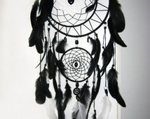 Large Black dreamcatcher, Large Dream Catcher, Black Dream Catcher, Boho dreamcatcher, Heavenly dream, Black, White, wooden frame, feathers