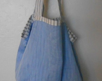 Reusable linen shopping bag, reversible shopping tote, washable grocery bag