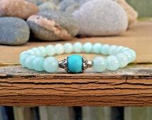 Genuine Healing Bracelet, Turquoise Bracelet, Amazonite Bracelet, Healing Crystals, Healing Stones, Women's Bracelet, Zen, Yoga, Wrist Mala
