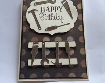 Handmade Birthday card featuring tools in brown tones