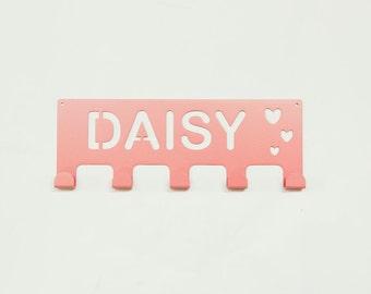 Baby Showe Gifts / Personalized Coat Rack / Nursery wall hanger / Kid Wall Hooks / Daisy / Hearts Coat Hanger