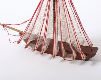 Vintage Sailboat, String Ship, String Art, Handmade String Art Ship, Nautical Art, String Sailboat