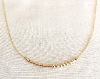 Morse Code Necklace, 14K Gold Filled, Sterling Silver, Secret Message, Mother's Day, Valentine's Day, Brides Necklace, Rose Gold Morse Code