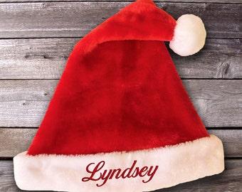 Personalised Plush Santa Hat, Red Christmas Hat for Adults, Personalised Christmas Hat