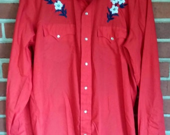 Vintage Western Shirt Red Embroidered Mens XL