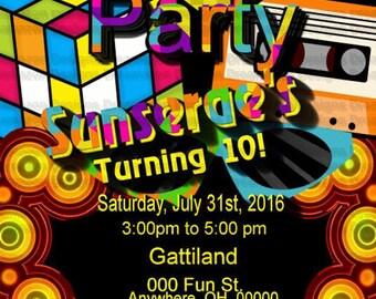 1980s Invitation, Totally Rad Party, eighties invite 1980s invite 80s invite 80s invitation