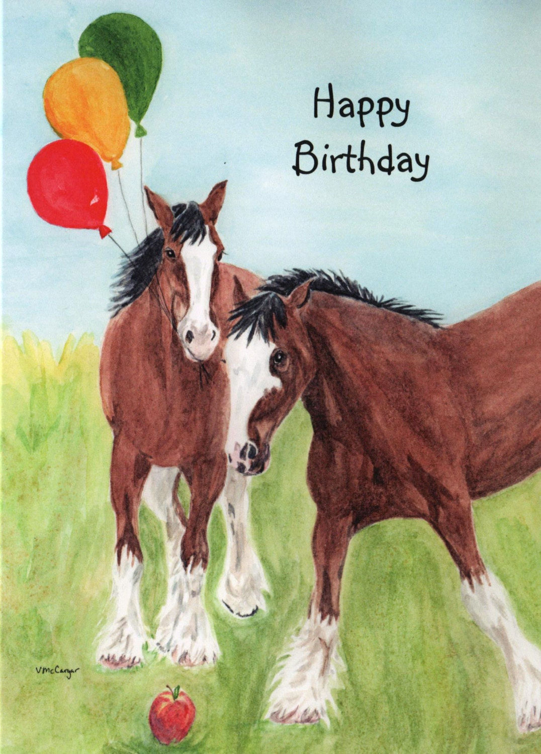 birthday clydesdale horse with balloons card original