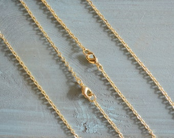 """18K Gold Plated 18"""" -20 """"  Cable Chain With Losbter Clasp Handmade Craft Supply Gold Plated Accessory Charm Necklace"""