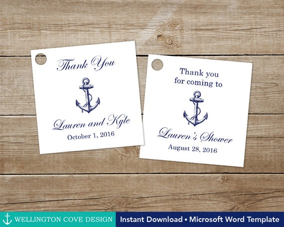 Wedding Favor Tags Template Word : ... Template for Microsoft Word Navy Anchor Wedding Favor Tags