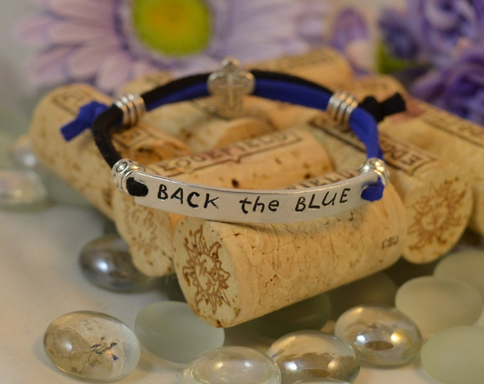 Back The Blue, Adjustable Hand Stamped Washer Bracelet, ID Style Bracelet, Blue Live Matter, Police Lives Matter, A Thin Blue Line