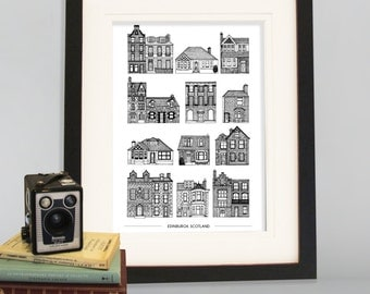 Houses of Edinburgh Cityscape, A4 Art Print, Wall Decor, Poster, Black and White print, Edinburgh, Scotland, Scotland print