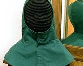 Forest Green Undermask Fencing Hood - SCA Rapier Armor - Arming Cap
