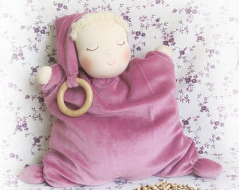 "12""/30 cm Waldorf Doll Sleepy Baby-Warmer with cherry pits. Steiner doll-Weighted Baby Doll-handmade doll-soft doll-heat pack doll-sleep toy"