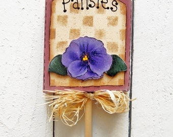 Pansies Plant Stick Plant Poke Wood Yard Art Pansy Yard Sign Plant Stake Painted Garden Sign Yard Decor Garden Decor Wood Flower Garden Sign