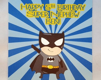 Personalised Superhero Childrens Birthday Card-Batman