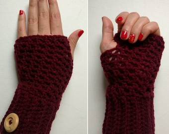 Fingerless Gloves / Mitts With Wooden Buttons Perfect For Texting