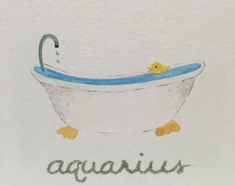Aquarius Baby and Child Zodiac Picture
