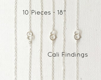 "10pc- 18"" Sterling Silver Chain Finished, Finished Necklace, Flat Cable Chain 1.3mm, 10 Pieces, Wholesale, Silver Chain, Bulk Chain, 18 inch"
