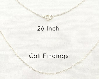 "Sterling Silver 28"" Finished Flat Cable Chain Necklace, 1.3mm, 1Pc, Wholesale, Finished Necklace, Silver Chain, Bulk Chain, 28 inch"