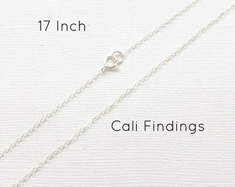 "Sterling Silver 17"" Finished Flat Cable Chain Necklace, 1.3mm Cable Chain, Finished Silver Necklace, Silver Chain, 17 Inch Silver Chain"