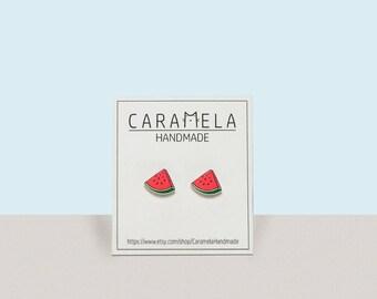 Watermelon Stud Earrings Fruit earrings Fruit stud earrings Post earrings