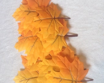 11 Autumn Leaves Fall Leafs Leaves Artificial leaves Craft Supplies Scrapbooking Leaves Orange Yellow