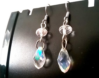 Glass Crystal Earrings, Droplet, Gift for Her, Sterling Silver