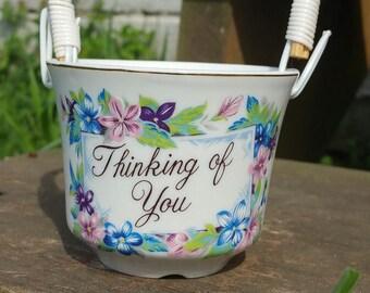 """Vintage """"Thinking Of You"""" Basket, Porcelain Enesco Basket, Vintage Basket, Enesco"""