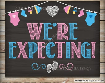 We're Expecting Pregnancy Announcement Printable Chalkboard Photo Prop Sign, Pregnant, Pink and Blue, Baby, Instant Download