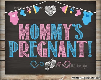 "Pregnancy Announcement Mommy's Pregnant Sign, Expecting Baby #2 Photo Prop Sign, PRINTABLE 8x10/16x20"" Chalkboard Style Instant Download"