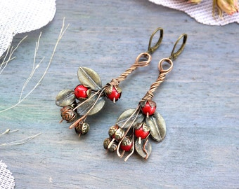 Earrings copper, summer earrings, red beads, natural stones, a bouquet of flowers, creatively, boho style, Berry in Union art. 1008