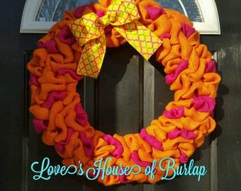 Summer Burlap wreath, Spring burlap wreath, Pink wreath, Orange wreath, Year round wreath, Bright burlap wreath