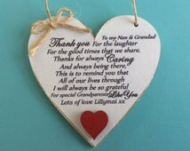 Special Grandparents Like you, Grandparent plaque! Shabby Chic Heart Grandparents Gift Nan and Grandad Sign 10cm - More wording choices